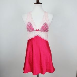 Victoria's Secret Hot Pink Satin and Lace Nightie